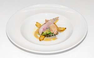 Pan roasted Partridge with truffles Puy lentils